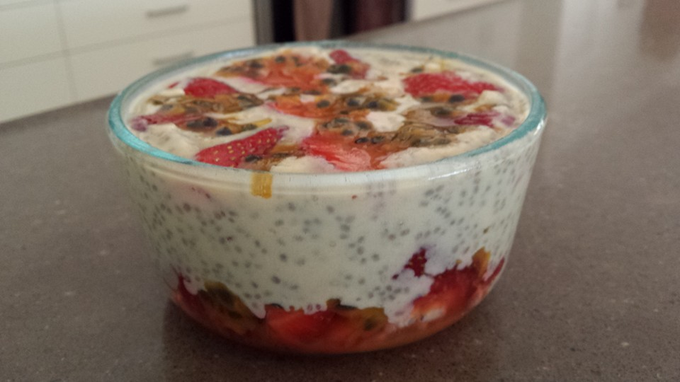 Chia Pudding with Strawberries & Passionfruit
